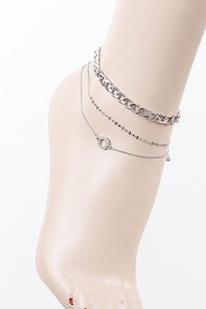 Silver Multi Layered Circular Pendant Anklet