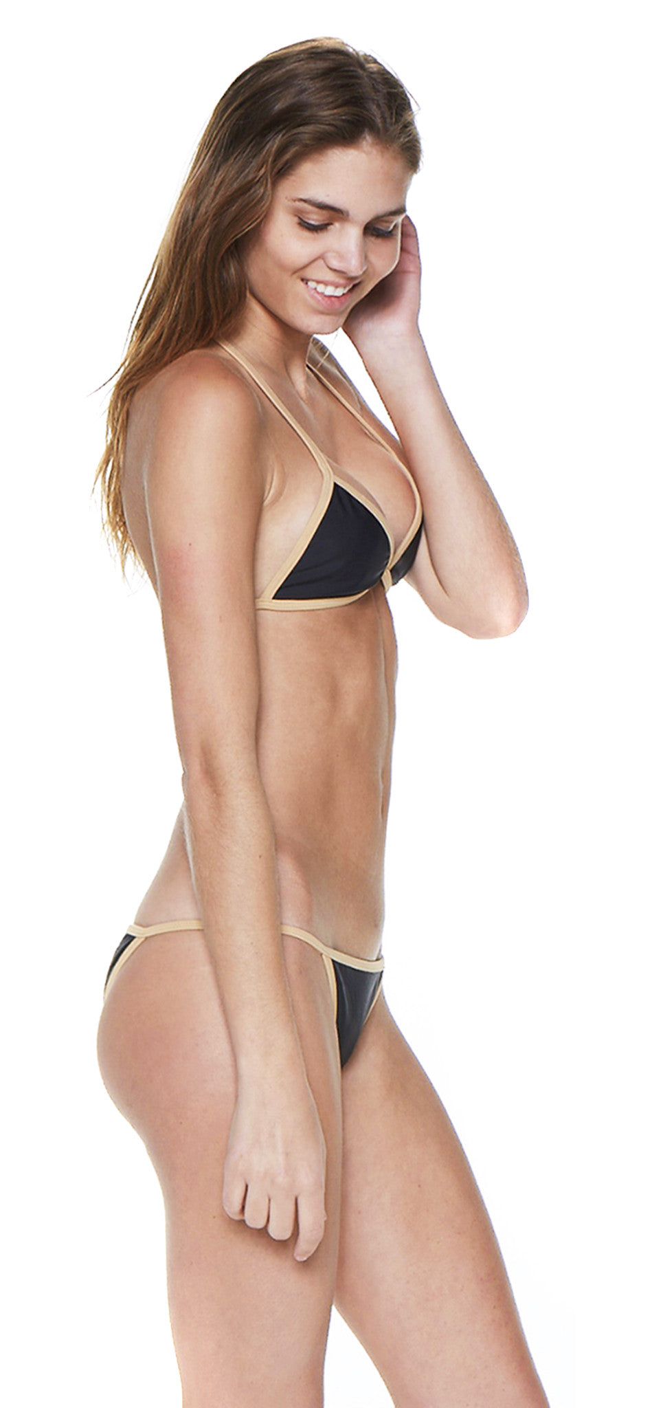 Black & Nude Triangle Cross Back Bikini - Emprada