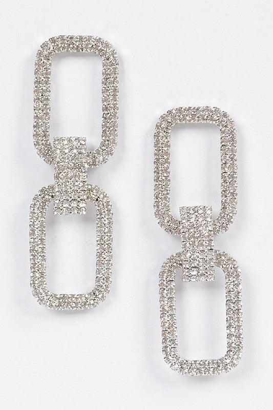 Two Rectangle Silver Rhinestone Earrings