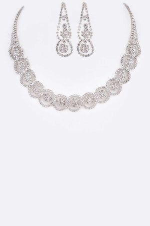 Rhinestone Silver Flower Collar Necklace & Earrings Set