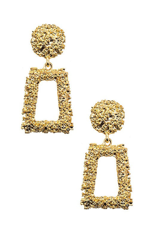 Textured Gold Drop Detail Earrings