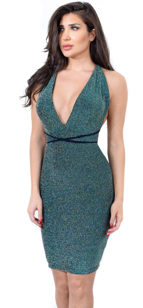 Green Metallic Halter Neck Dress