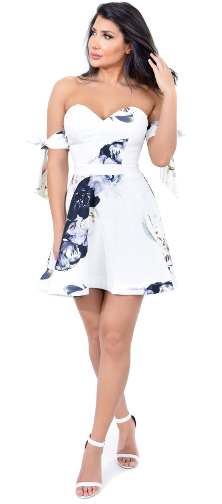 Katherine White Floral Flare Arm Tie Dress