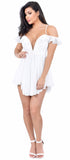 Belle White Chiffon Romper Dress