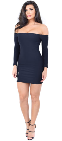 Cassidy Black Off Shoulder Side Zipper Dress