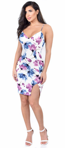 Cynara Ivory Floral Side Slit Dress