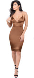Lux Bronze Satin Lace Up Dress - Emprada