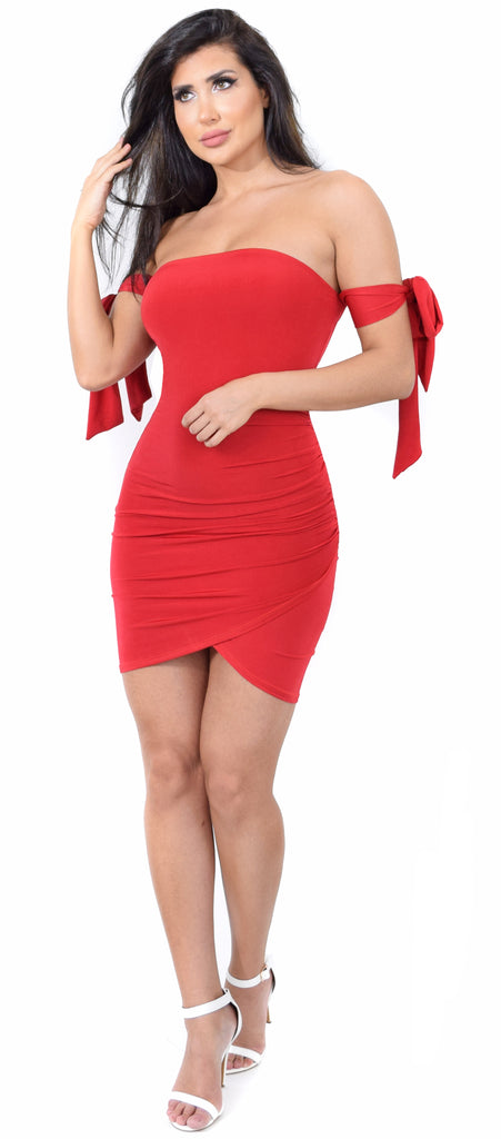 Justina Red Arm Tie Dress