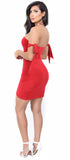 Justina Red Arm Tie Dress - Emprada
