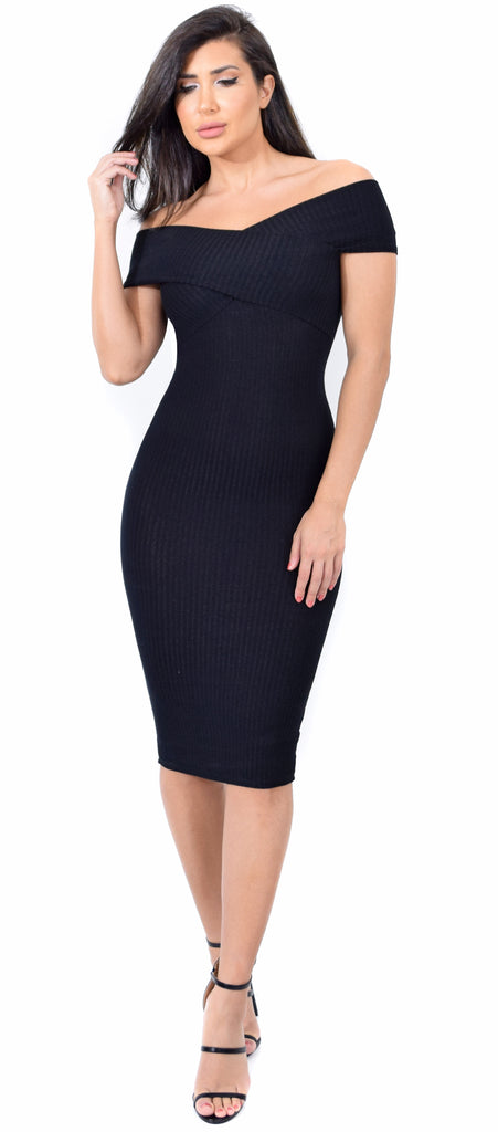 Jill Black Off Shoulder Ribbed Knit Dress