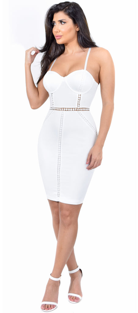Ivette Off White Bustier Dress - Emprada