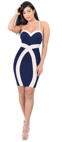 Dolce Navy Beige Color Block Dress