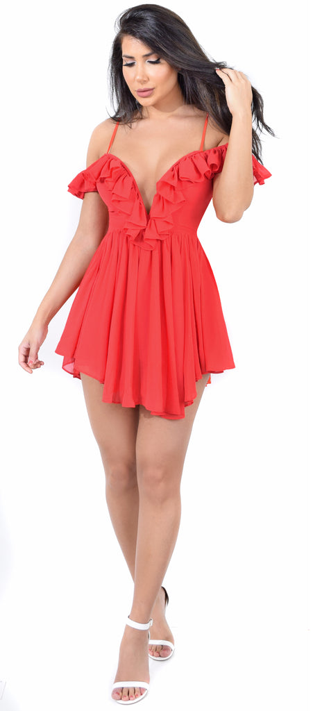 Belle Bright Red Chiffon Romper Dress