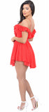 Belle Bright Red Chiffon Romper Dress - Emprada