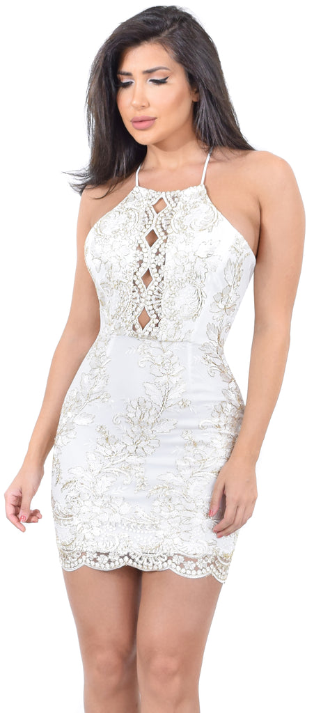 Janet White Gold Sequin Lace Dress