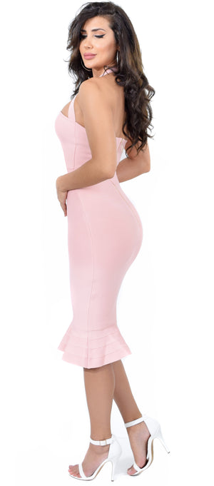 Kayden Blush Mermaid Bandage Dress - Emprada