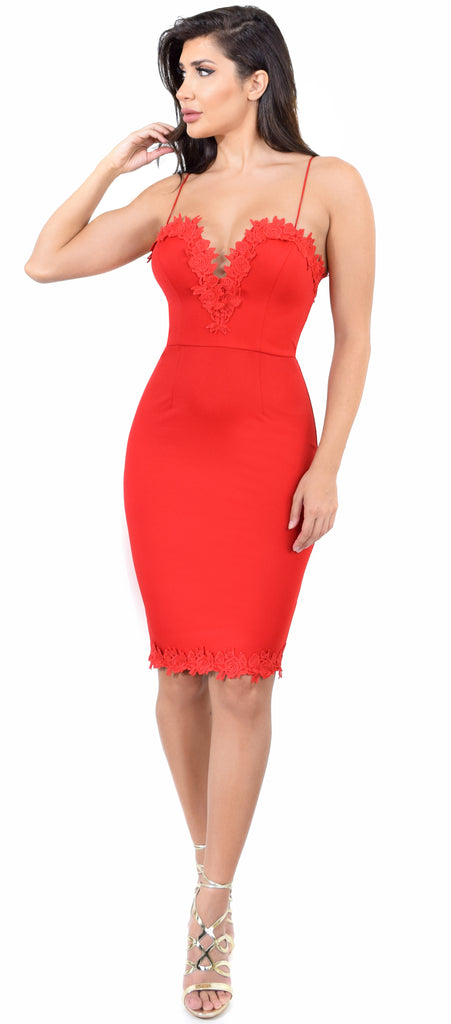 Everly Red Lace Trim V Neck Dress