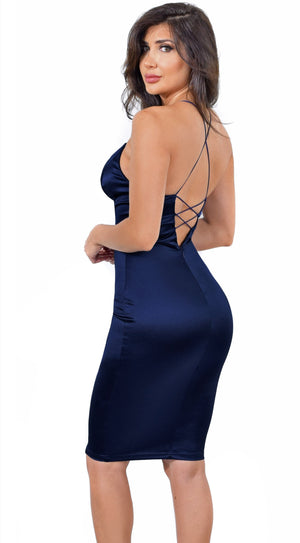 Lux Navy Satin Lace Up Dress
