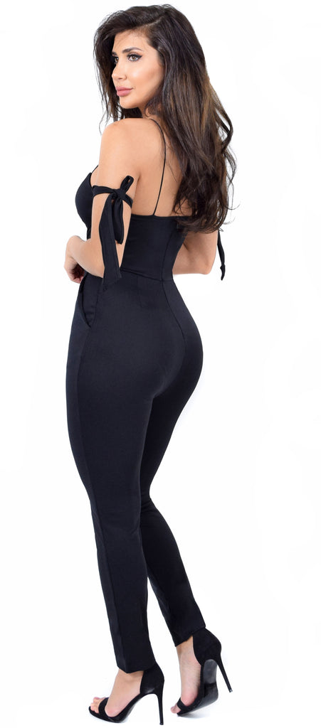 Janessa Black Arm Tie Jumpsuit
