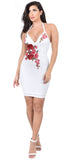 Phoebe Off White Floral Halter Dress - Emprada