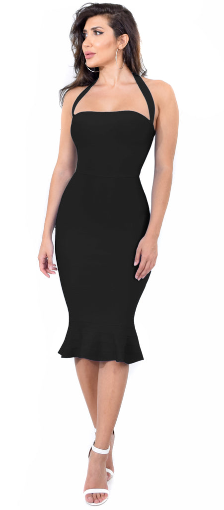 Kayden Black Mermaid Bandage Dress - Emprada