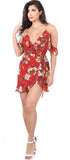 Barbra Floral Ruffle Off Shoulder Wrap Dress - Emprada