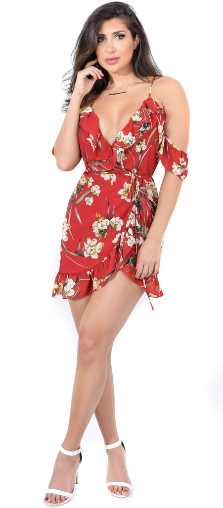 Barbra Floral Ruffle Off Shoulder Wrap Dress
