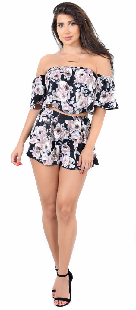 Emily Satin Black Floral Set - Emprada