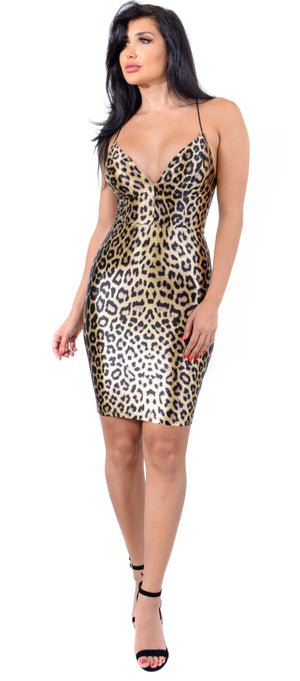 Lux Leopard Print Satin Dress - Emprada