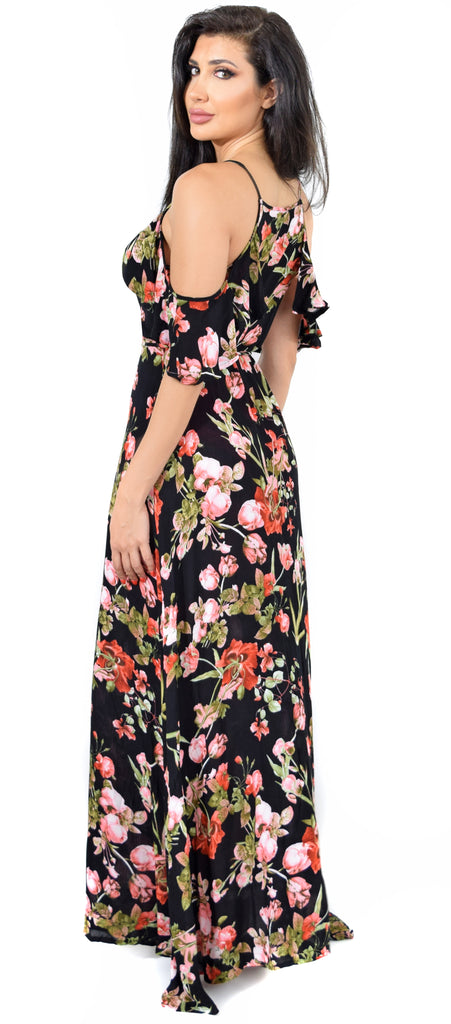 Lillian Black Floral Off Shoulder Wrap Maxi Dress - Emprada