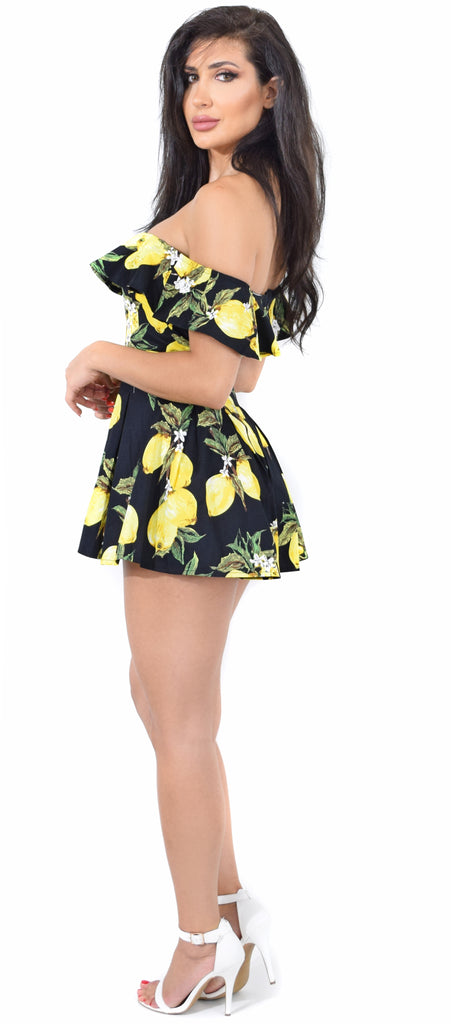 Lemonade Black Ruffle Pleated Romper - Emprada