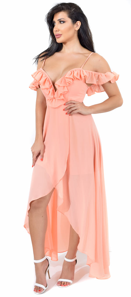 Makayla Peach Ruffled Maxi Dress - Emprada
