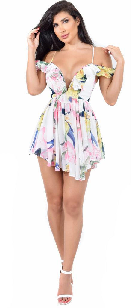 Analisa Floral Romper Dress - Emprada
