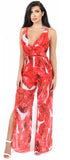 Tonya Red Palm Print Jumpsuit - Emprada
