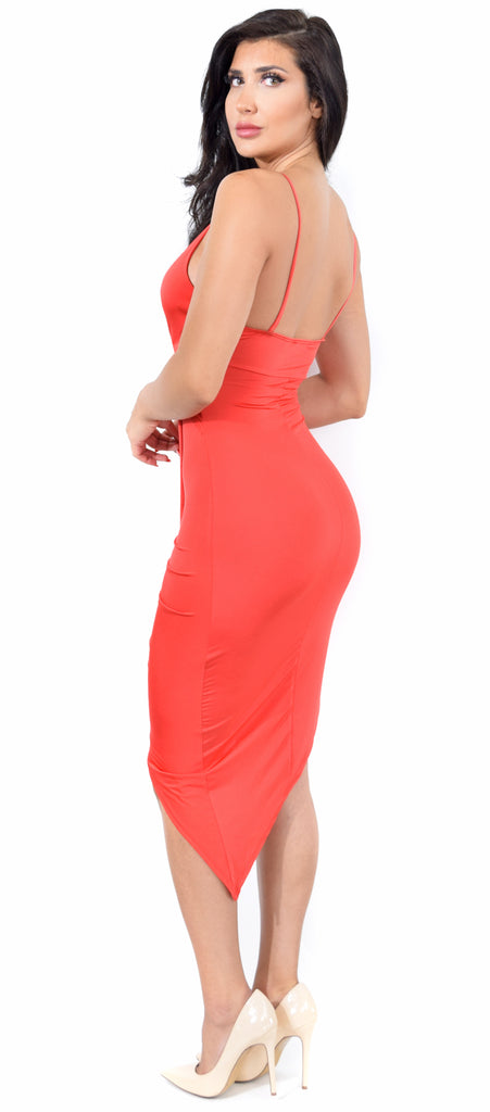 Ida Scarlet Red Knot Drape Dress - Emprada