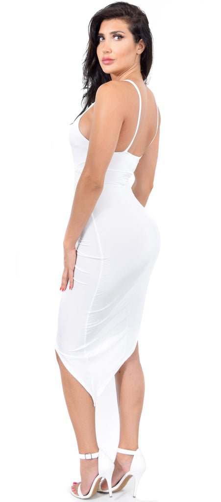92b9671b83 Ida White Knot Drape Dress - Emprada
