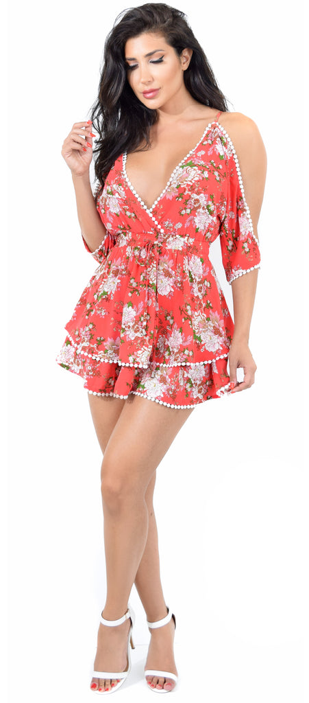 Tori Coral Floral Mini Dress - Emprada