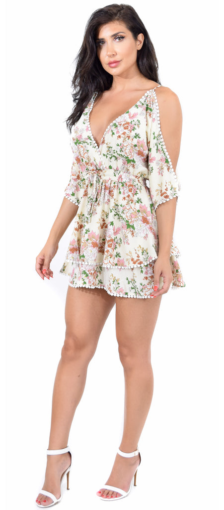 Tori Cream Floral Mini Dress - Emprada
