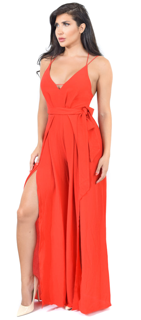 Donna Red Wide Leg Slit Jumpsuit - Emprada