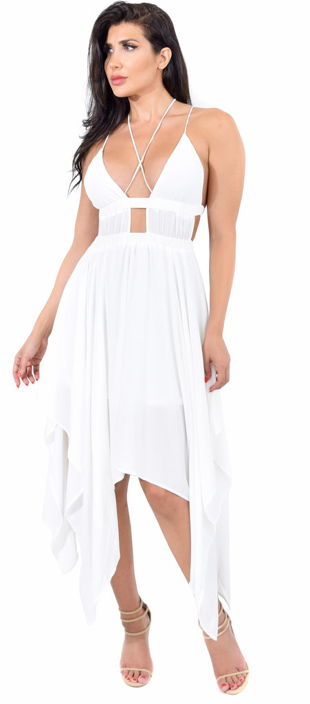 Melbourne White High Low Maxi Dress - Emprada