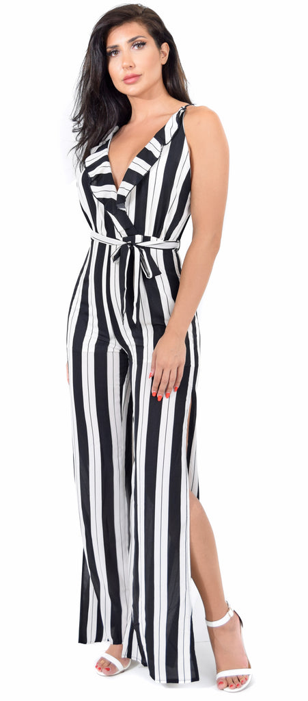 Chloe Black White Stripe Slit Jumpsuit - Emprada