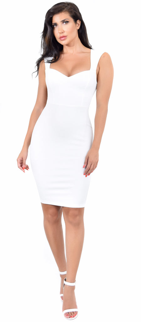 Sheron White Open Back Midi Dress - Emprada