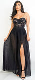 Debra Black Lace Mesh Side Slit Maxi Dress - Emprada