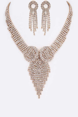 Fringe Gold Rhinestone Necklace & Earrings Set