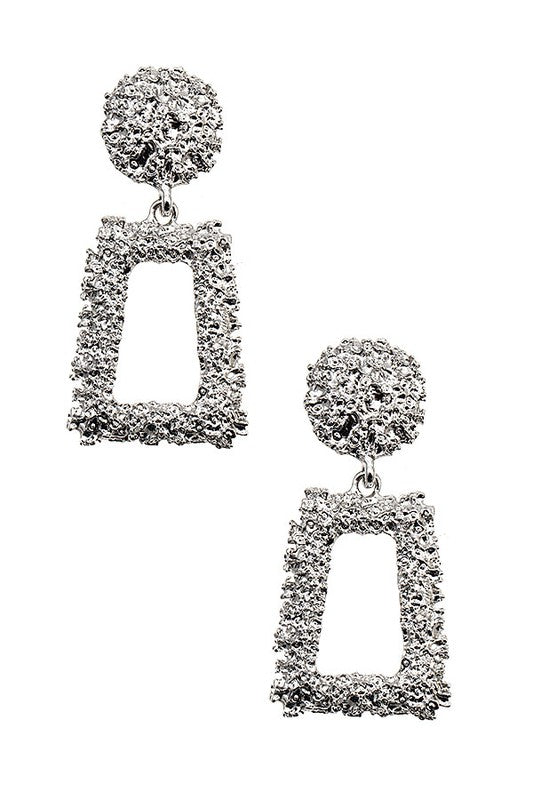 Textured Silver Drop Detail Earrings