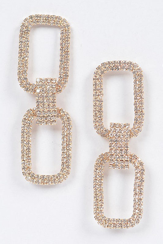 Two Rectangle Gold Rhinestone Earrings