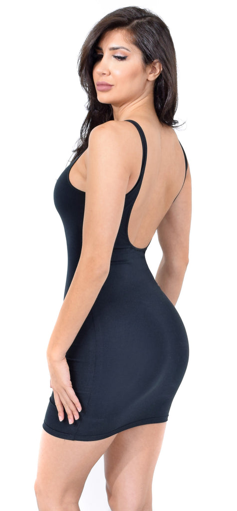 Evia Low Back Slip Jersey Mini Dress - Emprada