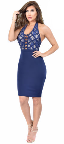 Amra Navy Criss Cross Lace Dress