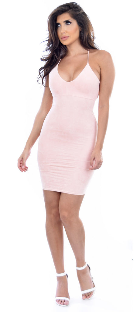 Peach Faux Suede V Neck Dress