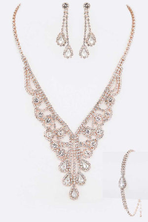 Rhinestone Rose Gold Statement Necklace, Earrings & Bracelet Set